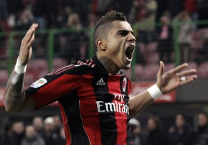 AC Milan's Boateng celebrates after scoring against Brescia during their Italian serie A soccer match in Milan.